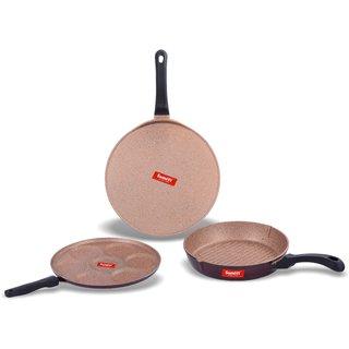 Sumeet Nonstick Granite Finish PRIVA cookwrae Set ( Multi Snack Maker - 7 Cavity - 26.5cm Dia + Tawa 30.5cm Dia + Round Grill Pan 25.5cm Dia )