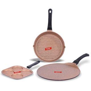 Sumeet Nonstick Granite Finish ENCLAVE cookware set ( Round Grill Pan 25.5cm Dia + Mini Multi Snack Maker - 4 Cavity - 19.5cm Dia + Tawa 30.5cm Dia )