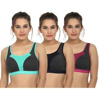 Maroon Multi Color Cotton Set of 3 Women's Sports Bra Combo