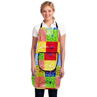 HomeStore-YEP Modern PVC Waterproof Kitchen Apron with Front Pocket, Multicolor, M-10