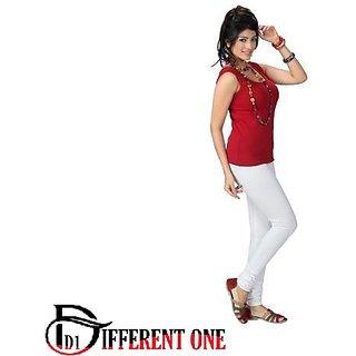 (PACK OF 1) DIFFERENT ONE Women's Soft Lycra Churidar Leggings - WHITE - FREE SIZE