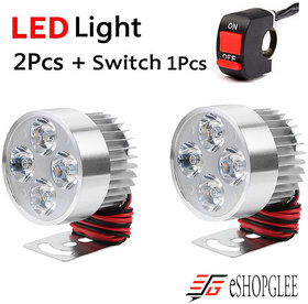 ESHOPGLEE Universal Fog Light 4 LED 2 Pc's with Free 1 On/Off Switch