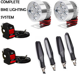 Eshopglee Universal Fog Lights (2 Pc)/ On-Off Switch (2 Pc) & Slim Indicator Lights (4 Pc) - Pack Of 8