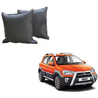 Auto Addict Grey Leatherite Car Pillow Cushion Kit (Set of 2Pcs) For Toyota Etios Cross