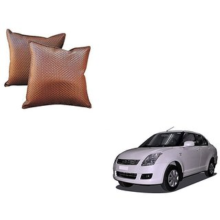 Auto Addict Brown Leatherite Car Pillow Cushion Kit (Set of 2Pcs) For Maruti Suzuki Old Dzire