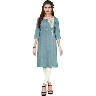 Minu Suits Women's Blue Floral Cotton Stitched Kurti