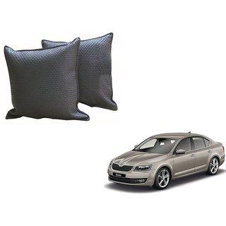 Auto Addict Grey Leatherite Car Pillow Cushion Kit (Set of 2Pcs) For Skoda Octavia