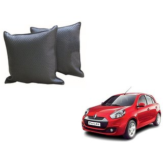 Auto Addict Grey Leatherite Car Pillow Cushion Kit (Set of 2Pcs) For Renault Pulse