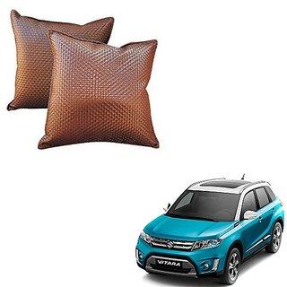 Auto Addict Brown Leatherite Car Pillow Cushion Kit (Set of 2Pcs) For Maruti Suzuki Vitara Brezza