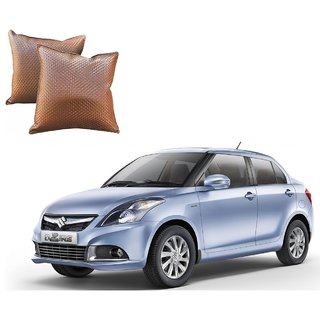 Auto Addict Brown Leatherite Car Pillow Cushion Kit (Set of 2Pcs) For Maruti Suzuki Swift Dzire Type-2(2011-2017)