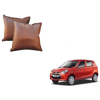 Auto Addict Brown Leatherite Car Pillow Cushion Kit (Set of 2Pcs) For Maruti Suzuki Alto 800
