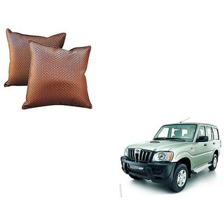 Auto Addict Brown Leatherite Car Pillow Cushion Kit (Set of 2Pcs) For Mahindra Old Scorpio