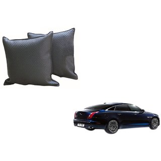 Auto Addict Grey Leatherite Car Pillow Cushion Kit (Set of 2Pcs) For Jaguar XJ-TYPE