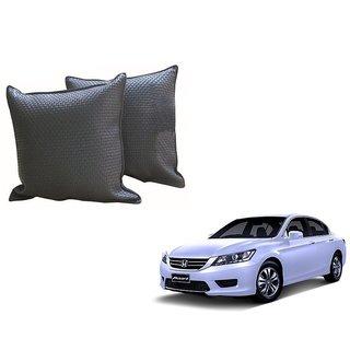 Auto Addict Grey Leatherite Car Pillow Cushion Kit (Set of 2Pcs) For Honda Accord