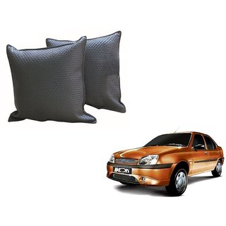 Auto Addict Grey Leatherite Car Pillow Cushion Kit (Set of 2Pcs) For Ford Ikon