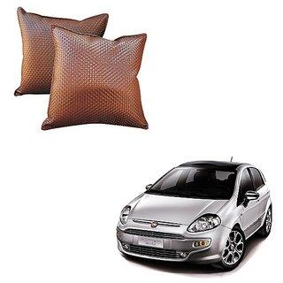 Auto Addict Brown Leatherite Car Pillow Cushion Kit (Set of 2Pcs) For Fiat Punto Evo