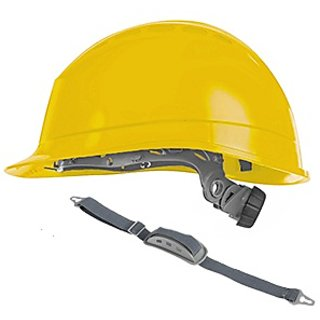 Mallcom Diamond III Yellow Safety Helmet with Chin Strap and Protector CH02STR