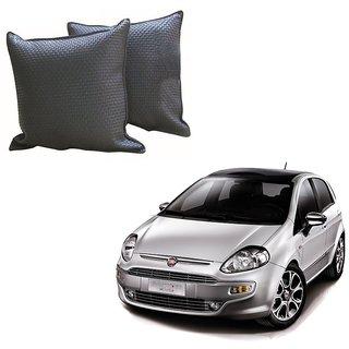 Auto Addict Grey Leatherite Car Pillow Cushion Kit (Set of 2Pcs) For Fiat Punto Evo