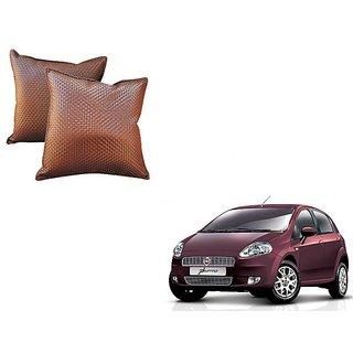 Auto Addict Brown Leatherite Car Pillow Cushion Kit (Set of 2Pcs) For Fiat Punto