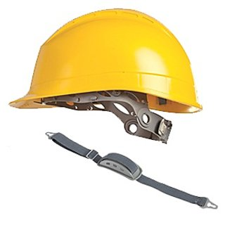 Mallcom Diamond XIII Yellow Safety Helmet with Chin Strap and Protector CH02STR