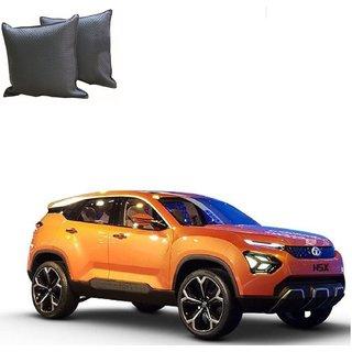 Auto Addict Grey Leatherite Car Pillow Cushion Kit (Set of 2Pcs) For Tata H5X