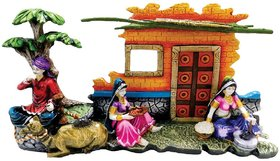 SAI SARTHAK ENTERPRISE RAJASTHANI PEOPLE WITH CAMEL MULTI-COLOUR HAND-PAINTING WALL-HANGING/TABLE-TOP (2 IN 1)