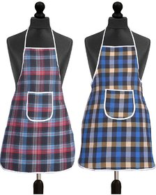 HomeStore-YEP Waterproof Cotton Kitchen Multi Colour Apron With Front Pocket - Set Of 2