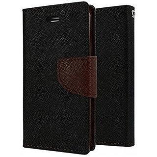 Wondrous Luxury Magnetic Lock Wallet Flip Cover For Vivo Y69 (Black & Brown)