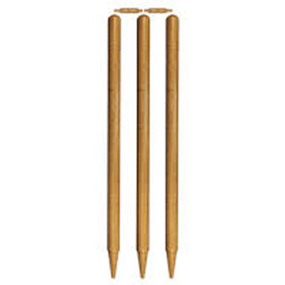 VK Cricket Wooden Natural Colour Two Bails Three Stumps