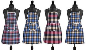 HomeStore-YEP Waterproof Cotton Kitchen Multi Colour Apron With Front Pocket - Set Of 4