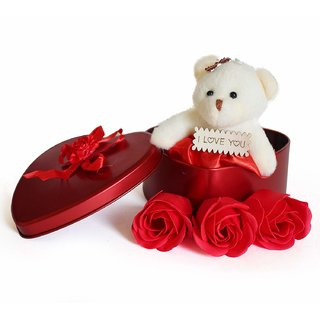 Valentines Day Gift Heart Shape Box with Teddy and Roses For Your Lover