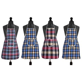 Homestore-Yep Waterproof Cotton Kitchen Multi Colour Apron With Front Pocket Set Of 4
