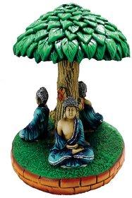 SAI SARTHAK ENTERPRISE THREE GAUTAM BUDDHA SITTING MEDITATING POSTURE UNDER TREE MULTI-COLOUR HAND-PAINTING TABLE-TOP .