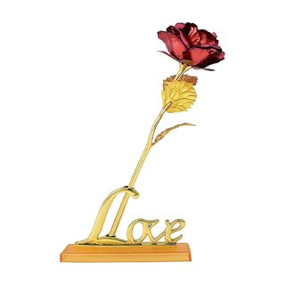 24K Red Golden Rose 10 Inches With Gift Box - Best Gift With Stand