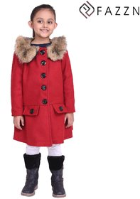 Fazzn Red Warmful woolen Coat for Girls