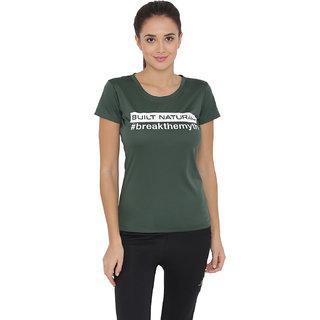 BUILT NATURAL Womens Green Self Design Polyester T shirt