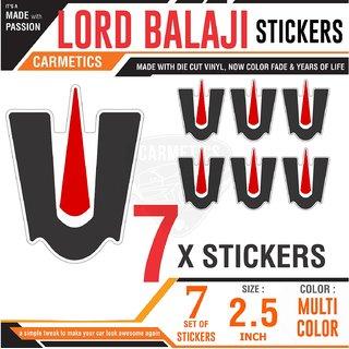 CarMetics Lord BALAJI car sticker bike sticker laptop and mobile stickers decals graphics hindu spiritual stickers for Toyota Land Cruiser - 7 Pcs Multicolor