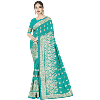 693d2ee58ca Buy Takshaya Embroidered Partywear Turquoise Art Silk Saree for Women with  Blouse Piece Online - Get 60% Off