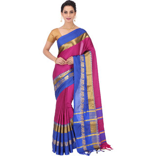 532fd21e42 Buy Takshaya Partywear Pink and Blue Zari Work Cotton Silk Saree for Women  with Blouse Piece Online - Get 60% Off