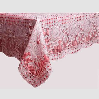 VAA Clear Vinyl Embossed Table Cover Red Color- 4 Seater