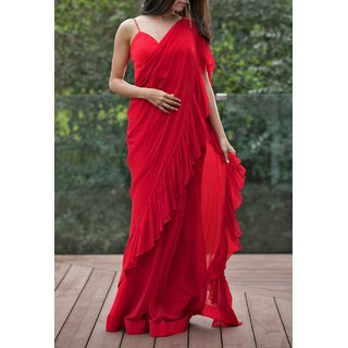 Pari Designer red color Ruffle Saree