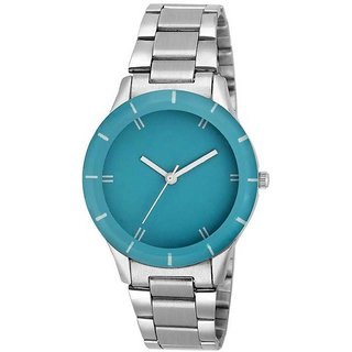 True Colors  New Crystal Blue Dial Stainless Steel Chain Belt Watch For Girls  Women Watch - For Men