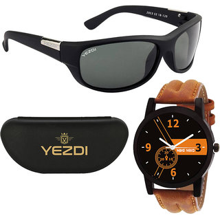 Yezdi Black Sports Wrap Around UV Protection Sunglasses With Free Wake Wood Watch