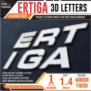CarMetics ERTIGA 3D Letters Stickers Logo Emblem Bonnet Stickers Accessories Free Chrome PETRAL  Diesal Stickers for Mar