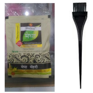 Combo of Megha mehandi Dark Brown Set of 5 pc and 2 pc hair color dye brush