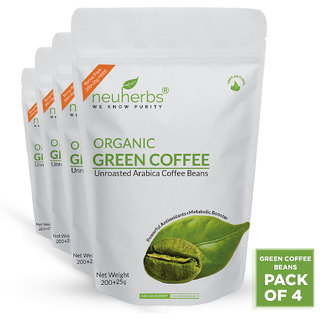Neuherbs Organic Green Coffee Beans for Weight Loss 200g+25g Free (Pack of 4)