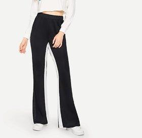 Elastic Waist Side Broad White Stripe Wide Leg Pants