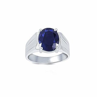 Natural Certified 8.25 Ratti or 7.4 Carat Natural Blue Sapphire Ring (Nilam/Neelam stone Silver Ring) 100 Original Good Quality Gemstone For Man and Woman