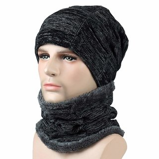 Aeoss Autumn Winter Unisex hat Hats Knitted Wool Warm Scarf Thick Wind Beanie Multifunctional Scarf hat for Women Men