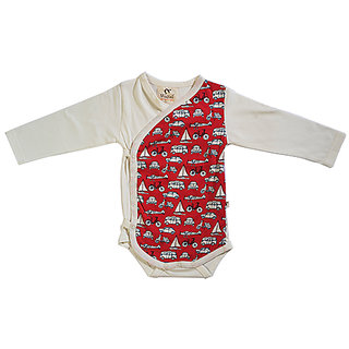 Wagtail Organic Cotton Baby Kimono ls bodysuit In White with Scotty allover print, Full Sleeves For 3Month To 6Month